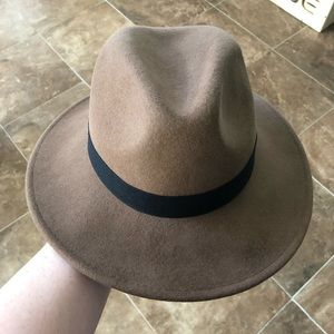 Brown and black Hat